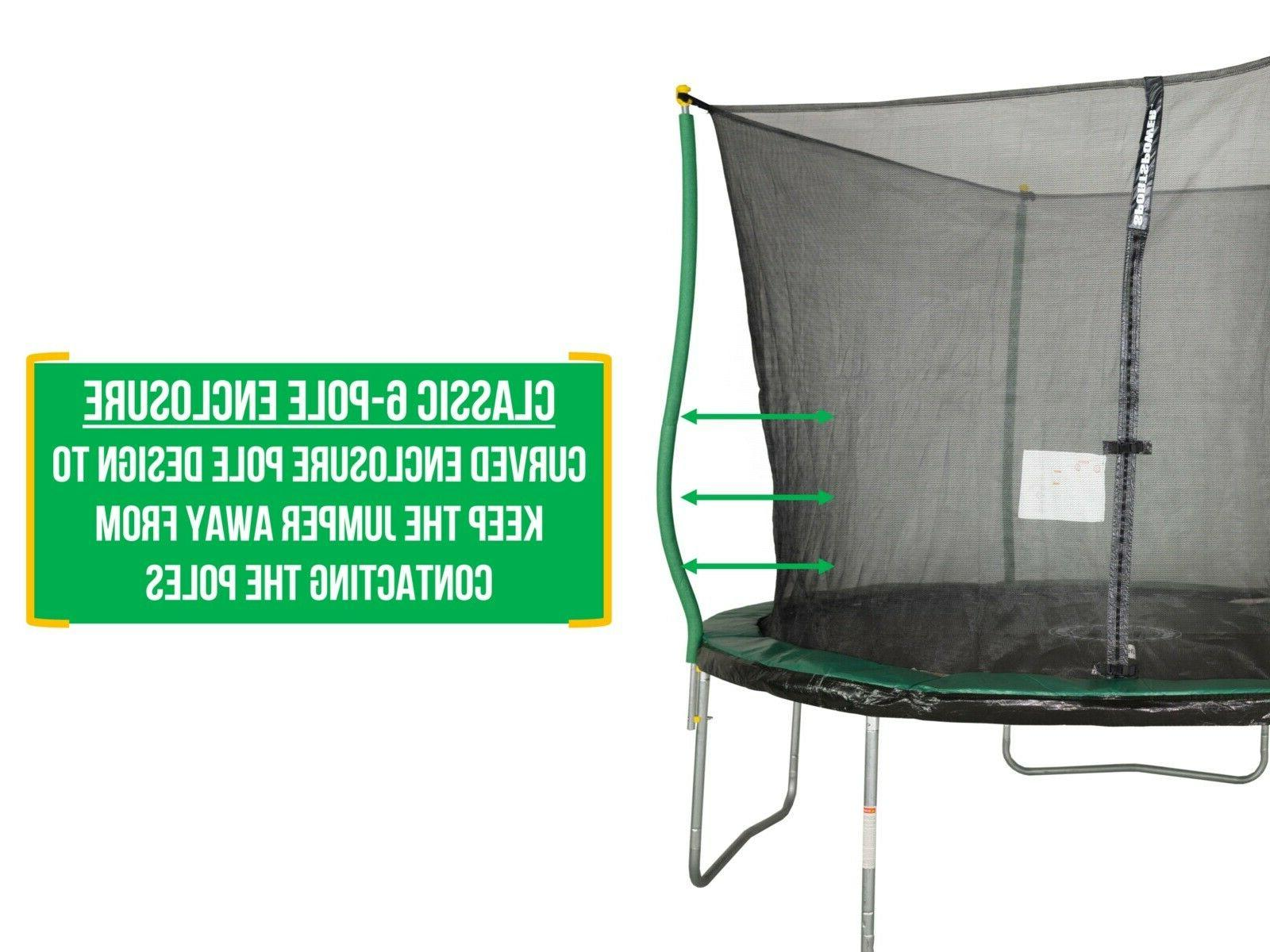 Bounce Pro 10-FootTrampoline,with Classic Enclosure Flash Zone,Green/Blck
