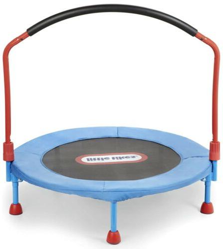 LITTLE TIKES EASY 3FT TRAMPOLINE WITH RAIL, BLUE/RED