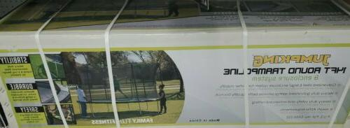 jumpking 14ft trampoline w 6 pole enclosure