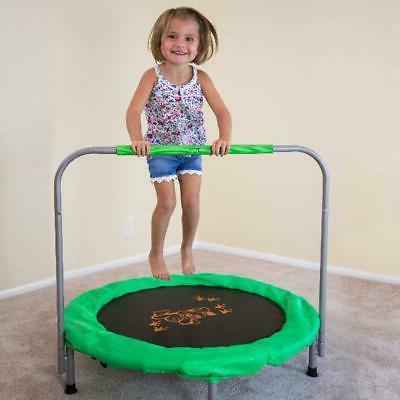 Kids Small Trampoline Bouncer, Green Safety Bar Jump