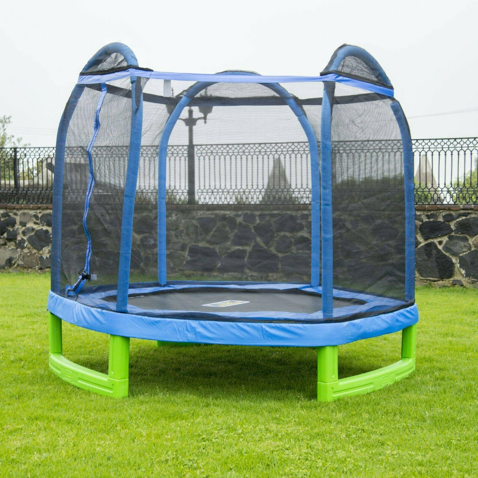 Bounce Pro 7 Foot My First Trampoline Hexagon  For Kids, Blu