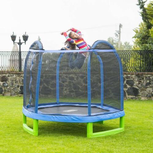 Trampoline Kids 3-10 Hexagon 7 Foot Blue/Green Net Screen Sa