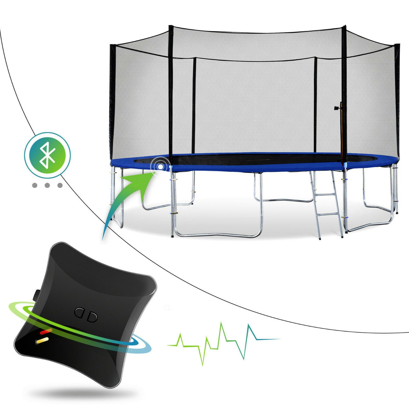 outdoor trampoline with enclosure net and game