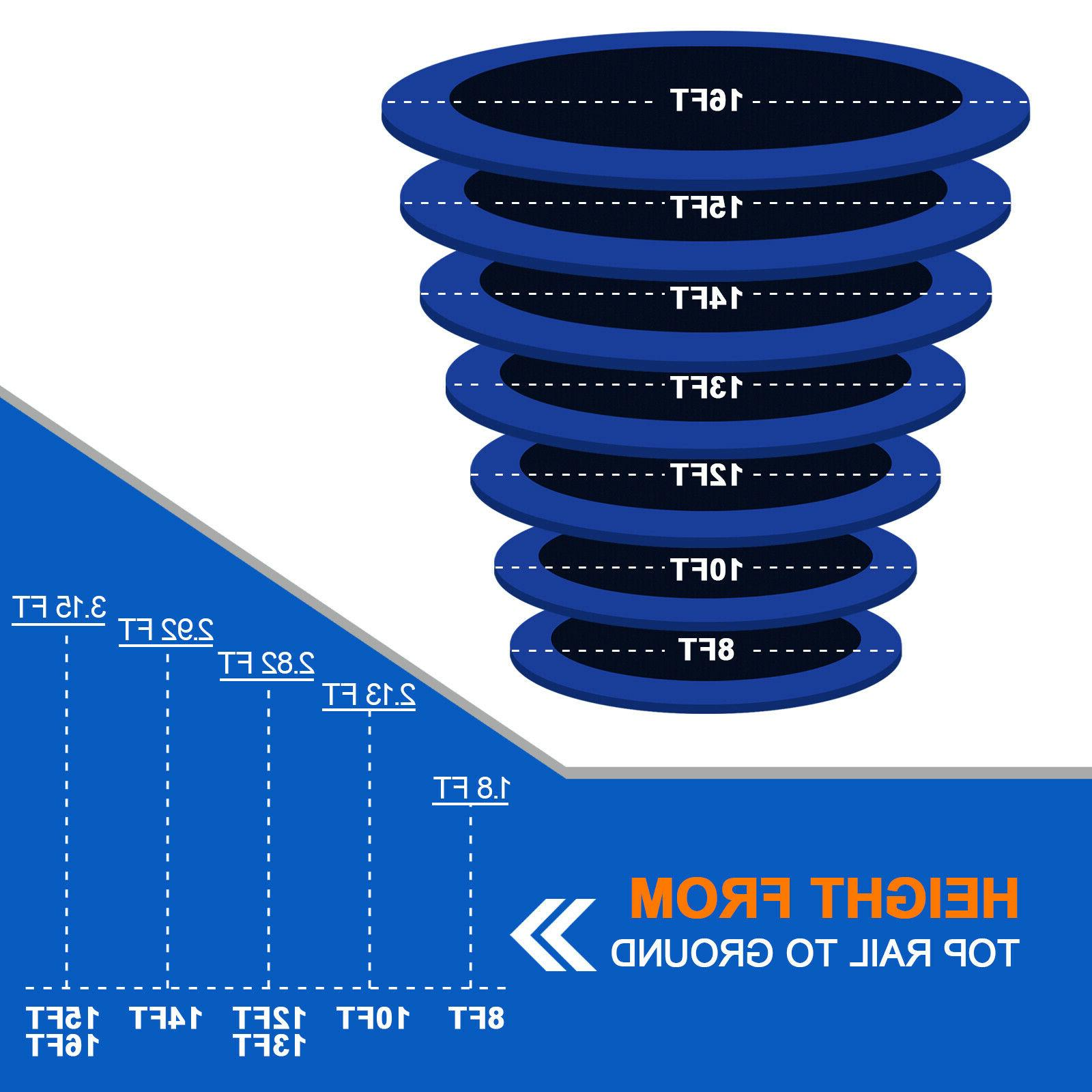 Outdoor Trampoline with Enclosure Net and Jumping Detector, T8-T16