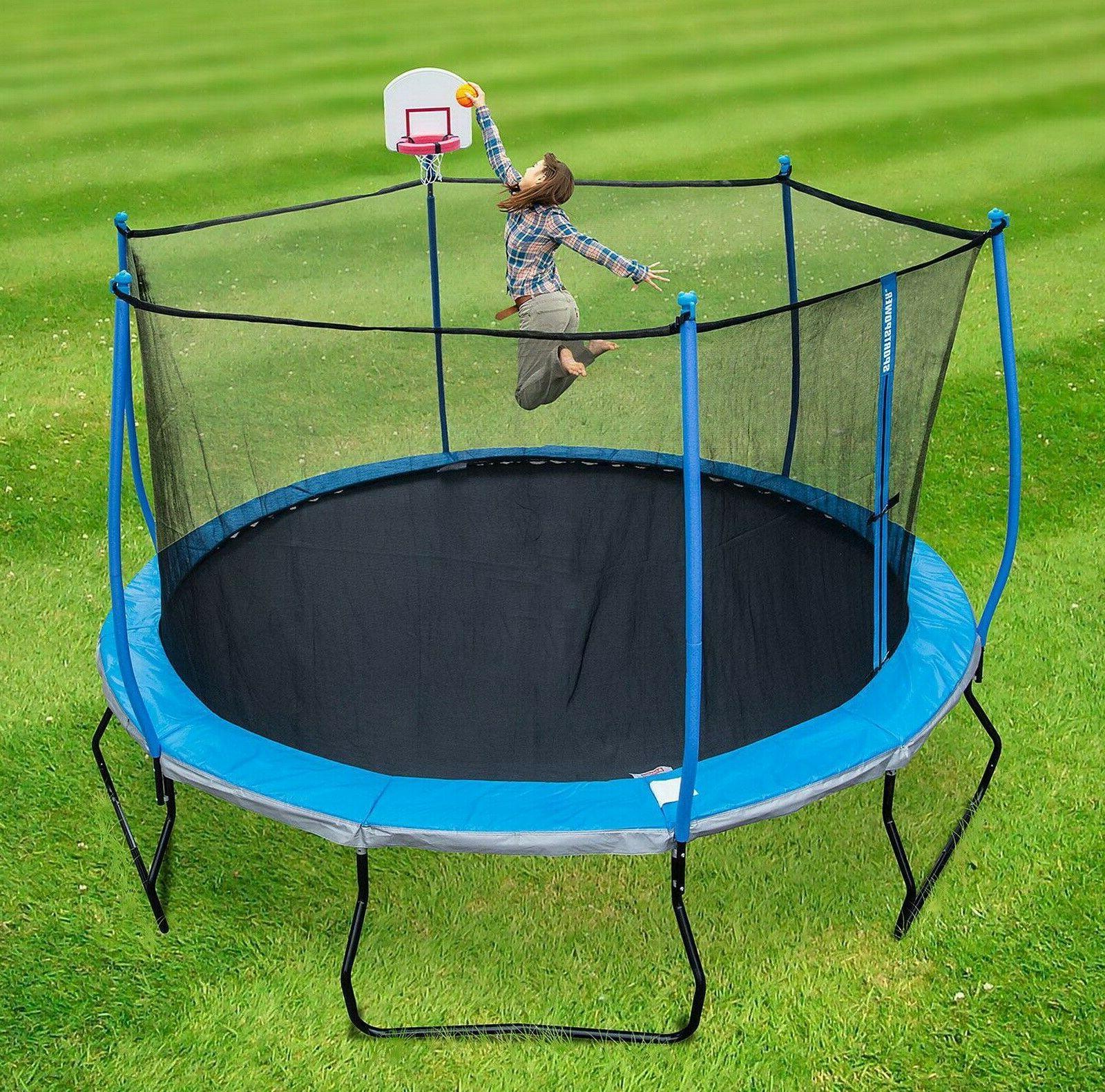 Round 14' Trampoline Basketball Enclosure Pro