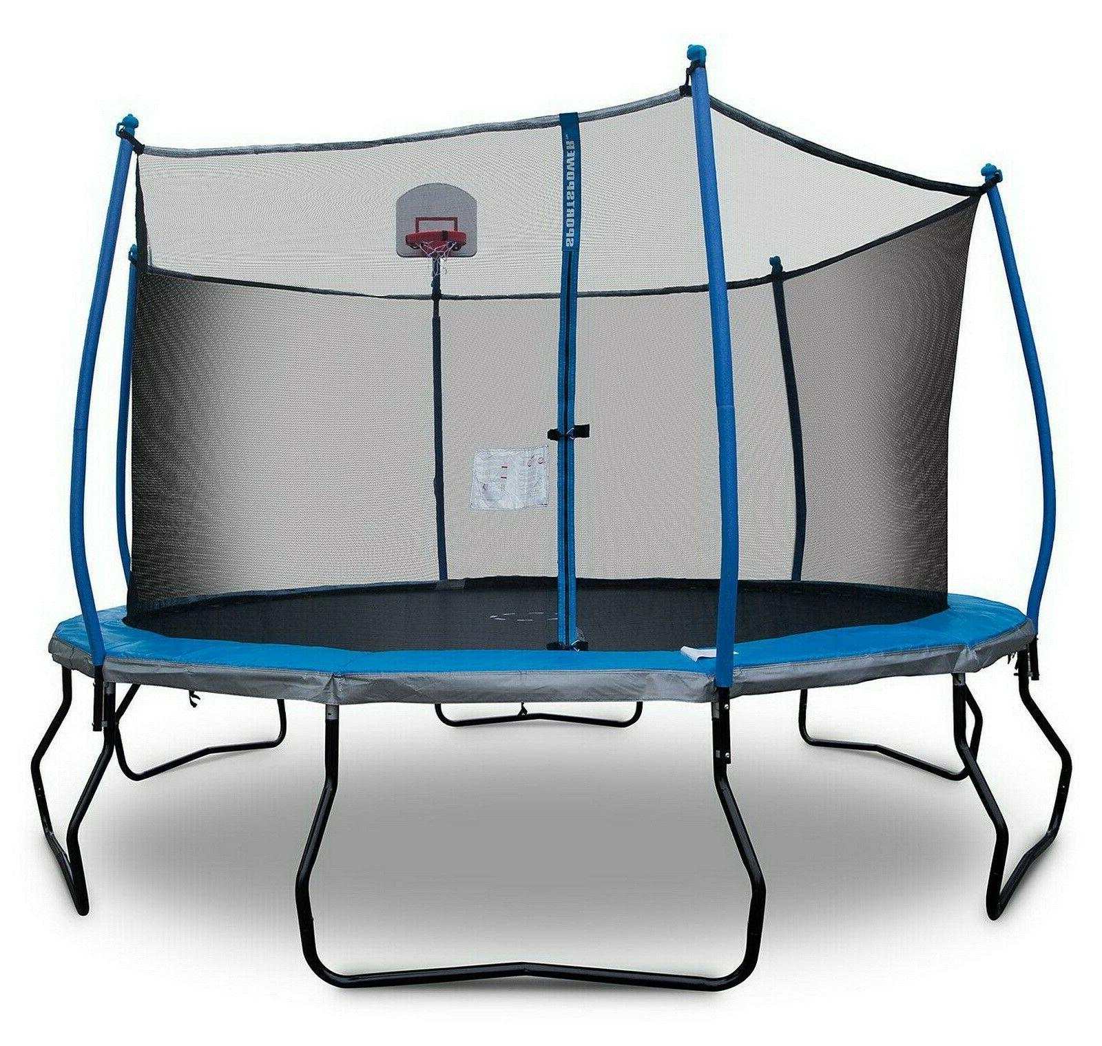 round 14 trampoline with basketball goal