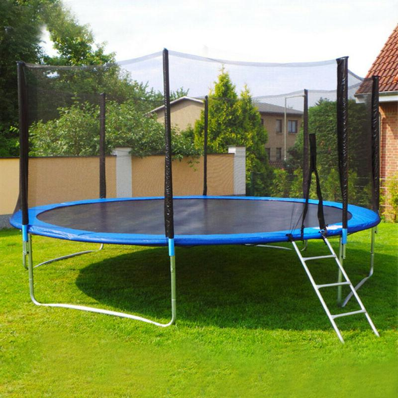 10 FT Kids Trampoline With Enclosure Net Jumping Mat And Spr
