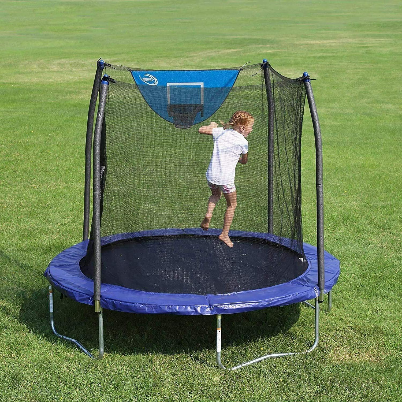 Skywalker 8-FT Jump N' Dunk Trampoline with Enclosure Net