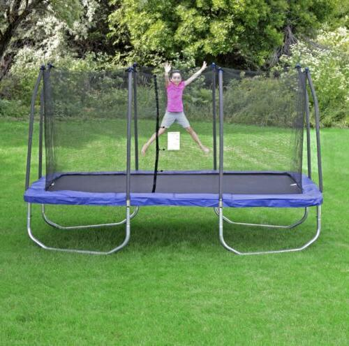 trampolines 15 rectangle trampoline and enclosure blue