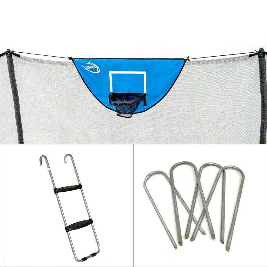 trampolines accessory kit with basketball game windstakes
