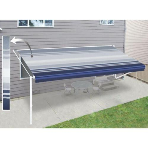 ALEKO Vinyl Replacement 10X8 ft For RV Awning Blue Stripes