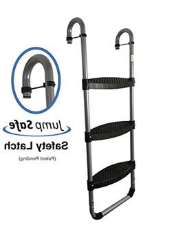 Trampoline Pro Wide 3-Step Trampoline Ladder with Safety-Lat