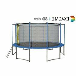 ExacMe 15FT 6W Legs Trampoline w/ safety pad & Enclosure Net