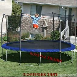 New 15' Round Trampoline with Safety Net Enclosure 96 Spring