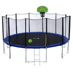 Outdoor Trampoline with Enclosure Net, Ladder, Green Basketb