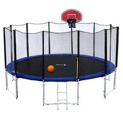Outdoor Trampoline with Enclosure Net, Ladder, Orange Basket