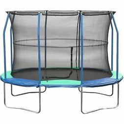 JumpKing Oval 8 x 11.5 Foot Trampoline, with Enclosure, Blue