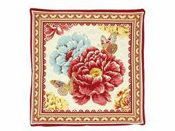 Pillow Cover Jacquard Woven Spring Flowers Butterflies 18x18