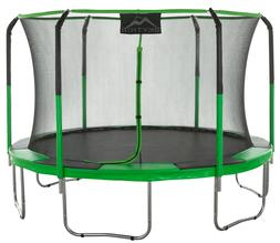 SKYTRIC 11-Foot Trampoline, with Safety Enclosure, Green
