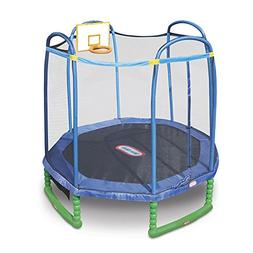 Little Tikes 10 Foot Sports Trampoline with Enclosure and Ba